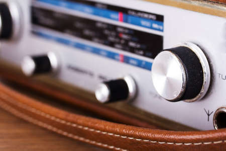 shortwave: Close up of the dials on a retro style radio