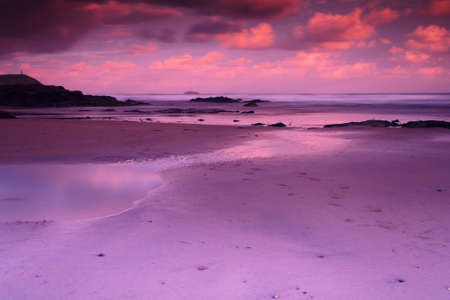 Early morning view of the beach at Polzeath, Cornwall Stock Photo