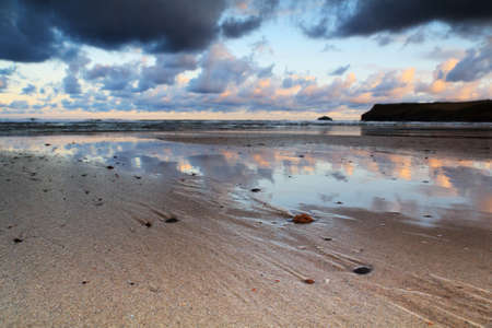 wispy: Early morning view of the beach at Polzeath, England Stock Photo