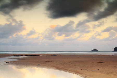 Early morning view over the beach at Polzeath, Cornwall