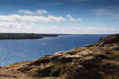 View along the coast path from Polzeath, Cornwall Stock Photo