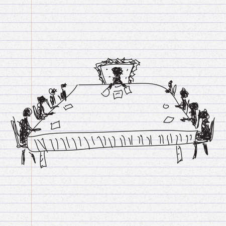 board meeting: Simple doodle sketch of a board meeting on paper background