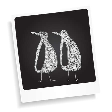 photograph: Simple doodle sketch of a penguin on a photograph background