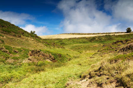 View of countryside from costal path near Polzeath, Cornwall Stock Photo