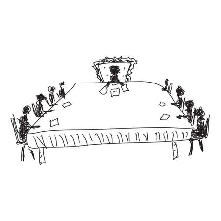board meeting: Simple doodle sketch of a board meeting on white background