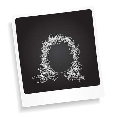 photograph: Simple doodle sketch of a hair style on a photograph background Illustration