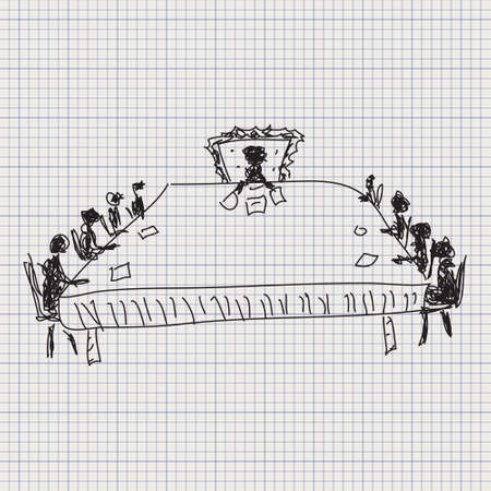 board meeting: Simple doodle sketch of a board meeting on graph paper background