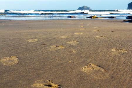 footprints in sand: Footprints in the sand on Polzeath beach, Cornwall