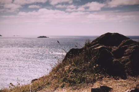 View from the costal path near Polzeath, Cornwall. Vintage Retro Filter.