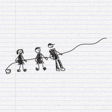 pulling rope: Simple doodle sketch of people pulling a rope on paper background