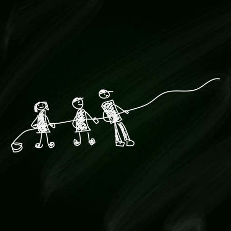 pulling rope: Simple doodle sketch of people pulling a rope on a blackboard background