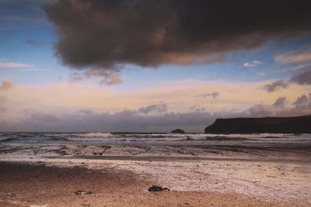 wispy: Beautiful view over the sea from Polzeath, Cornwall, Vintage Retro Filter.