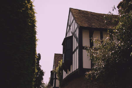 tudor: Old tudor building in Beaconsfield, Buckinghamshire, England Vintage Retro Filter.