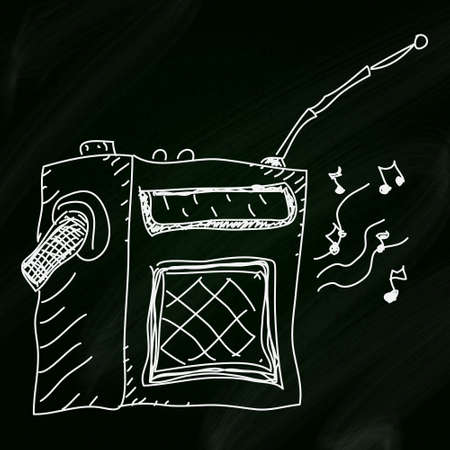 Simple doodle sketch of a radio on a blackboard background