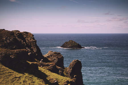 View from the costal path near Polzeath, Cornwall Vintage Retro Filter.