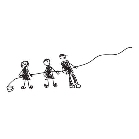 pulling rope: Simple doodle sketch of people pulling a rope on white background Illustration