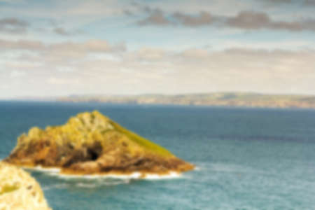 View from the costal path near Polzeath, Cornwall. Out of focus. Stock Photo