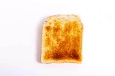 slice of toast on a white background lay flat stock photo picture