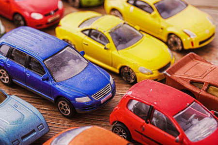 definition high: Close up of colorful toy cars with shallow DOF. HDR Filter.