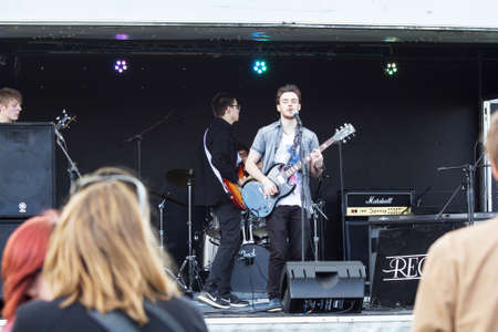 HIGH WYCOMBE, ENGLAND 1st April 2017: Performers on stage at free public music festival Editorial