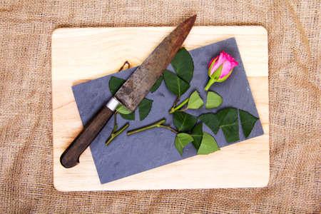 Single rose cut up on piece of slate
