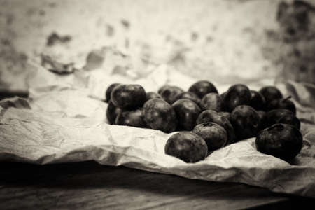 Fresh blueberries on a rustic paper background