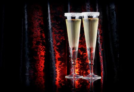 Vintage art-deco champagne glasses with a black velour.