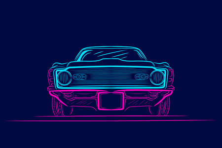 Classic car line pop art portrait colorful design with dark background. Abstract vector illustration.