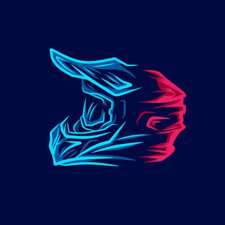 Motocross helmet trail fullface adventure line pop art potrait colorful design with dark background.