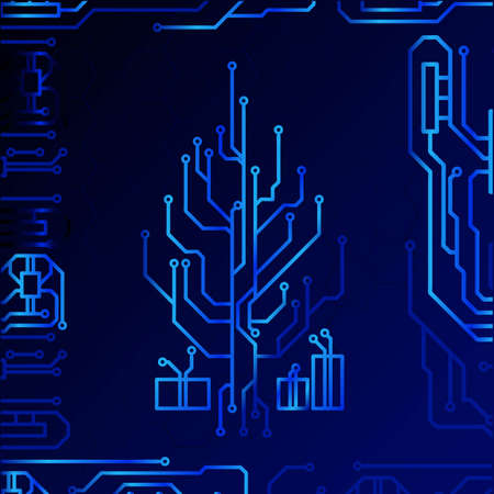 High tech christmas tree technology geometric and connection system background with digital data abstract. Electronic dark blue background wallpaper. Vector illustration. Vector Illustration