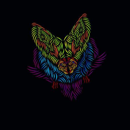 the lemur fox line pop art potrait logo colorful design with dark background