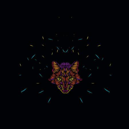 cat lynx leopard panther tiger line pop art potrait logo colorful design with black dark background