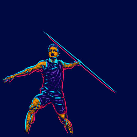 javelin line pop art potrait logo colorful design with dark background. Abstract vector illustration. Isolated black background for t-shirt