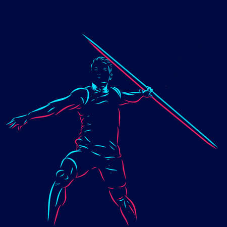 javelin line pop art potrait logo colorful design with dark background. Abstract vector illustration. Isolated black background for t-shirt Logo