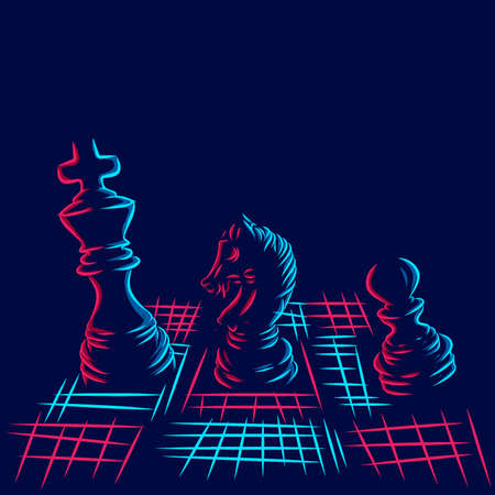 Chess line pop art potrait logo colorful design with dark background. Abstract vector illustration. Isolated black background for t-shirt