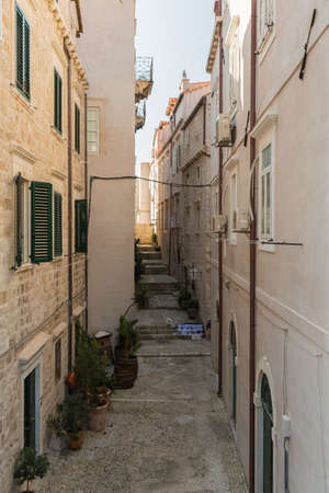 A typical side street and alley way in Dubrovnik in Croatia