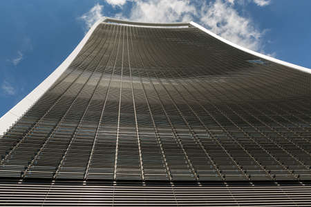 straight up: Business and Financial District of London - tall curved building looking straight up Editorial