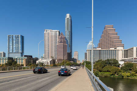 View of the the downtown skyline in Austin Texas with Capitol Building in the distance Stock Photo