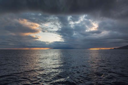 stormy waters: Stormy Sunset in Hawaii near Maui