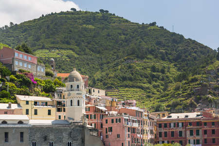 The village of Vernazza of the Cinque Terre, on the Italian Riviera in the Liguria region of Italy Stock Photo