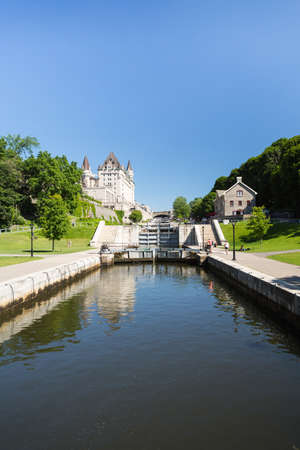 rideau canal: Rideau Canal Locks in Ottawa Ontario Canada