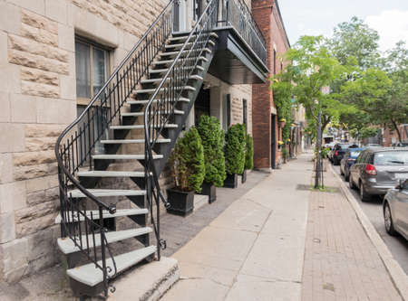 balcony: Outside stairs and staircase in Montreal in Quebec Canada Stock Photo
