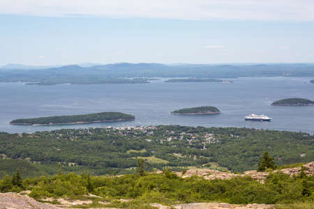 View from Cadillac Mountain in Acadia National Park in Maine USA