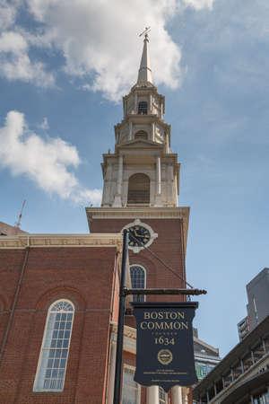 Park Street Church on the Boston Freedom Trail known as Brimstone Corner Stock Photo