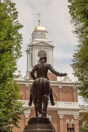 Old North Church and the midnight ride of Paul Revere on Boston Freedom Trail Editorial