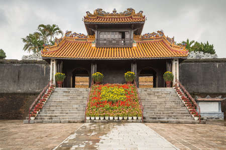 Pagoda at Khiem Tomb is the tomb of Tu Duc in Hue Vietnam, built for the emporer in 1864.