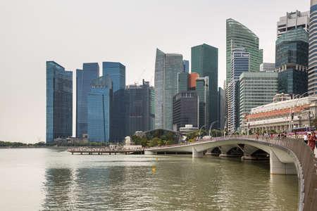 Marina Bay Skyline in Singapore in wonderful Asia Editorial