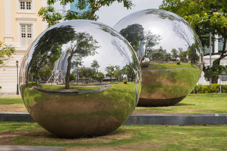 Two large reflective chrome balls in Singapore in Asia