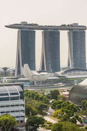 The skyline of the marina bay area of Singapore in Asia