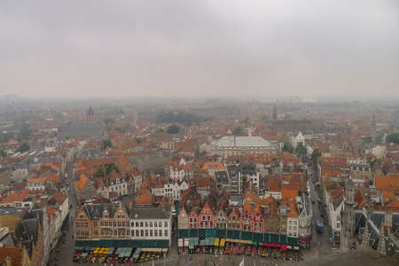 View of Bruges from the Tower in the Square in Belgium